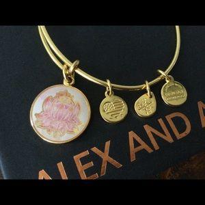 Alex and Ani Lotus Charm Bracelet Gold